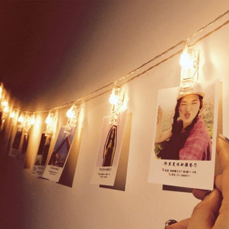 СВЕТОДИОДНАЯ Гирлянда Lights Фея огни строки новинка фото держатель Клип Батарея Luminaria для фестиваля Рождество Свадебные украшения