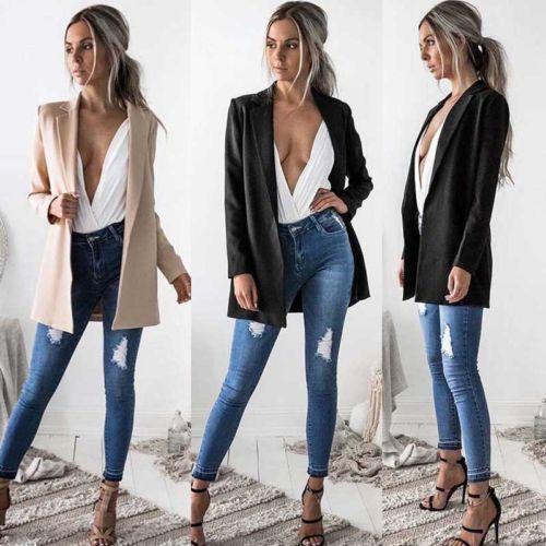 Women Slim Cotton Cardigan Suit Coat Business Temperament Long ...