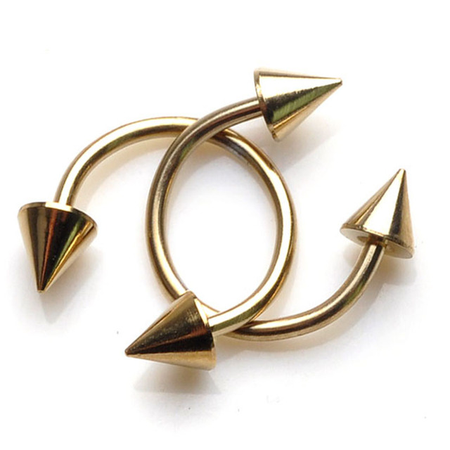 Cone Spike Horseshoe Circular Ring 5 pcs Surgical Steel Labret Nipple Hoops Nose Septum Eyebrow Piercing Body Jewelry 8mm 10mm 2