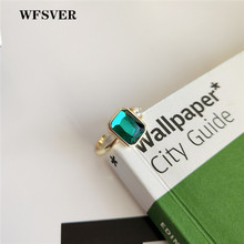 WFSVER korea style 925 sterling silver ring for women gold color with green crystal ring opening adjustable fine jewelry gift wfsver women rose gold silver 925 sterling silver ring bohemia with white crystal leaf shape ring opening adjustable jewelry
