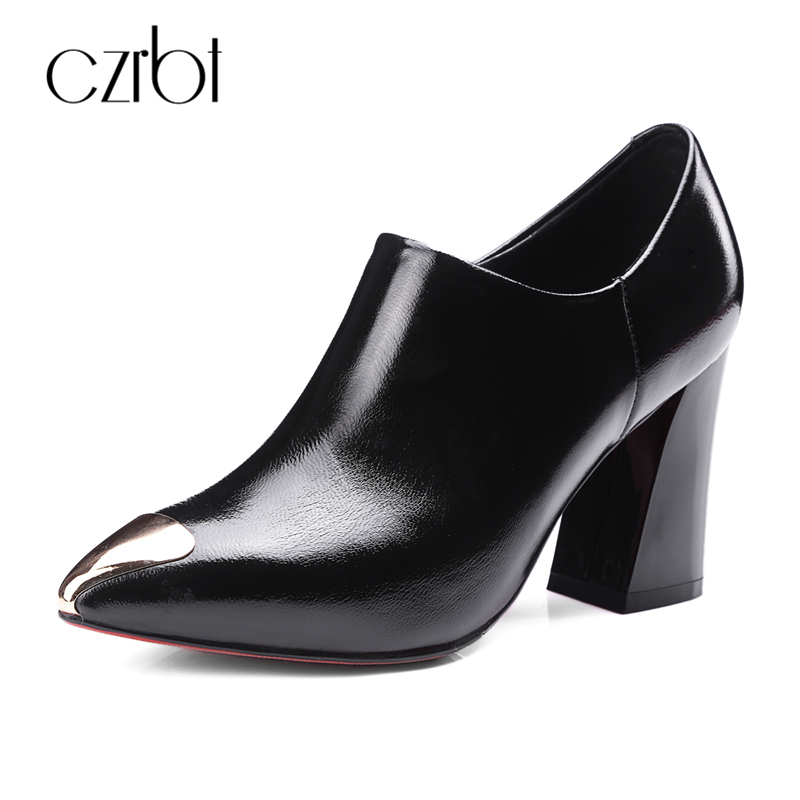 CZRBT Brand Metal Pointed Toe Women High Heel (8.5cm) Boots Causal Shoes Woman Handmade Genuine Leather Ladies Ankle Boots women black shoes sheepskin genuine leather women shoes suede pointed toe rivet solid color buckle ladies causal ankle boots