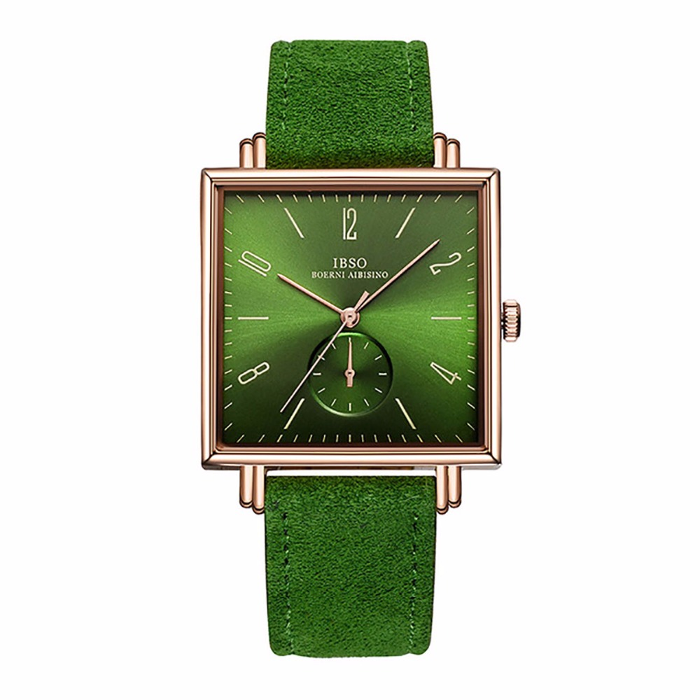 IBSO Mens Luxury Fashion Watches Green Leather Strap Rose Gold Analog Watches Ultra Thin Square Dress Watches Waterproof 8243 gold sliver leather analog fashion