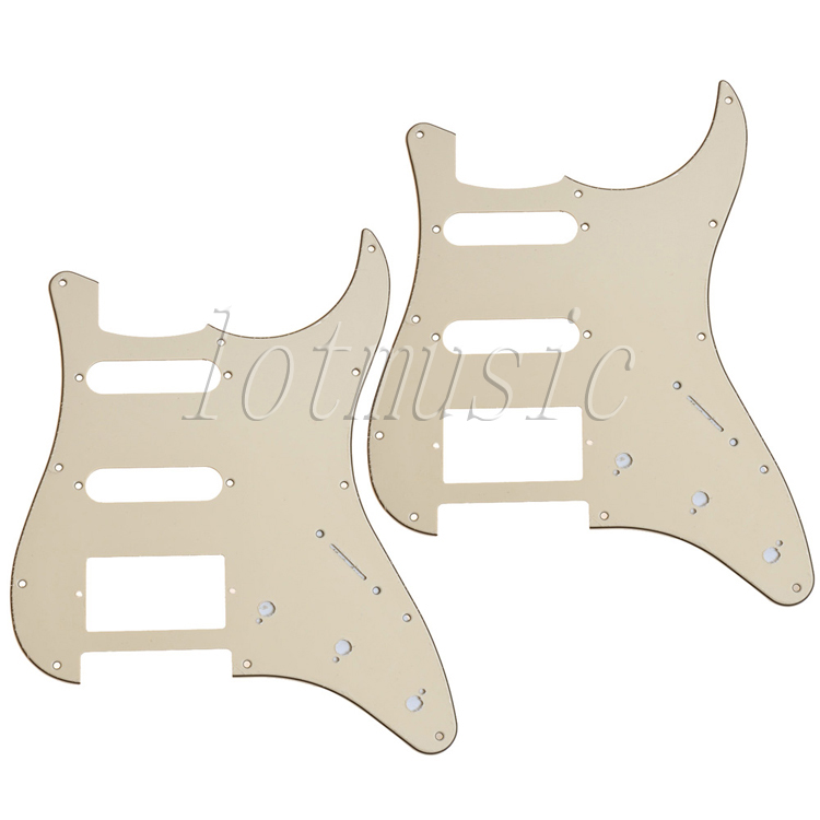 2PCS  SSH Style Electric Guitar Pickguard 3ply 11 hole Beige PVC For Fender Strat Replacement new 1pcs electric guitar pickguard strat st yellow style 3 ply hsh a62