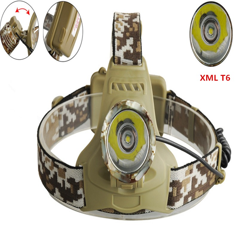 Super Bright LED Headlight 2000Lm XML T6 LED Headlamp 3 Modes Rechargeable 18650 Head Lamp Torch Flashlight super bright portable 1000lm xml t6 camouflage headlight headlamp 3 modes for camping hiking