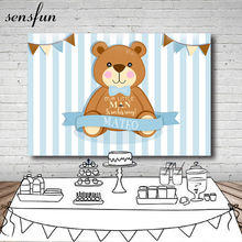 Sensfun Brown Cartoon Bear Photography Backdrop Light Blue White Striped Baby Shower Birthday Party Backgrounds 7x5ft Vinyl