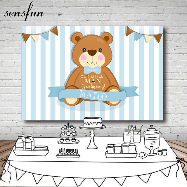Sensfun Brown Cartoon Bear Photography Backdrop Light Blue White Striped Baby Shower Birthday Party Backgrounds 7x5ft Vinyl