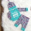Meninos Das Meninas do bebê Longo Da Luva Bodysuits + Calça + Conjuntos de Chapéu Infantil Criança Carta Olá Mundo Impresso Outfits conjuntos de Roupas