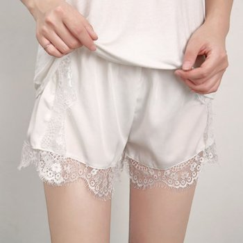 1PCS Sexy Shorts Tracksuit Hollow Satin Lace Women Shorts Casual Summer High Waist Short Feminino Shorts Solid Black White Color 4