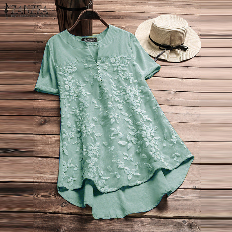 Plus Size 2019 ZANZEA Summer Blouse Elegant Women Embroidery V Neck Short Sleeve Shirt Casual Solid Loose Party Work Blusas Top