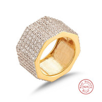 Real 925 Silver Ring GOLD Plated octagonal nut Cocktail wedding Jewelry finger Luxury Shine tiles seven rows 420pcs stone ring