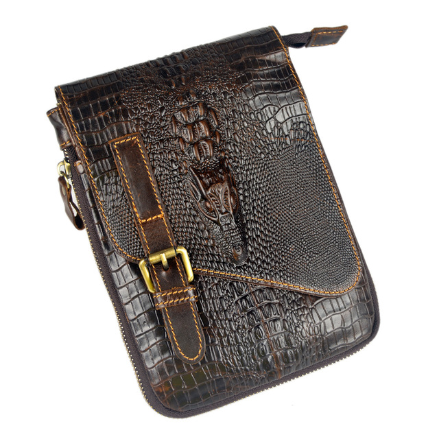 Crocodile style new genuine leather bags for men small messenger bags ipad  mini crossbody shoulder bags 3cc1f530f5