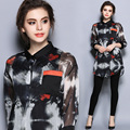 Ucrania medio camisa de manga impresión de seda 2017 primavera media manga blusas largas de las mujeres más el tamaño tops señoras de la buena calidad marca