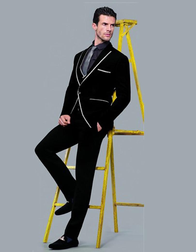 Black Man Suit White Edge Wedding Suit For Man Clothes 2018 Groom ...