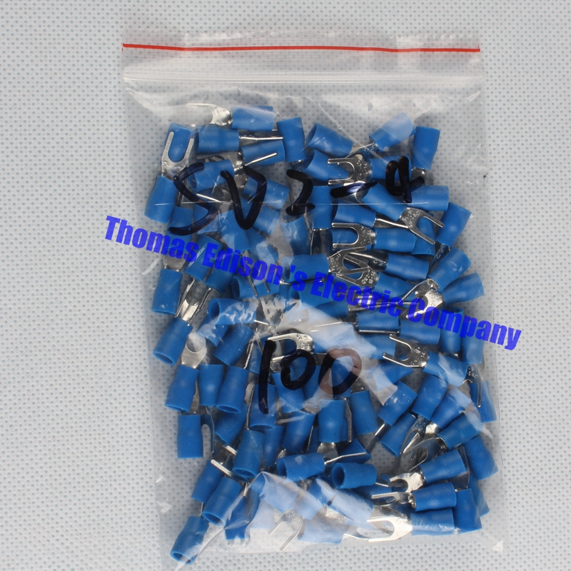 SV2-4 Blue Furcate Cable Wire Connector 100PCS/Pack Furcate Pre-Insulating Fork Spade 16~14AWG Wire Crimp Terminals SV2.5-4 SV 1000pcs red insulated furcate fork terminals cable lug awg16 14 sv1 25 4