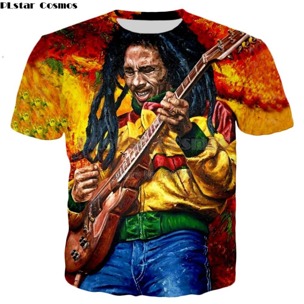 Plstar cosmos transporte da gota reggae hip hop t camisa bob marley personagens imprimir 3d camiseta estilo verão casual