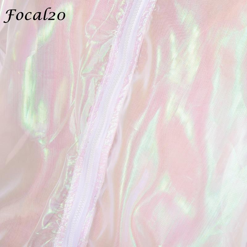 Focal20 Streetwear Rainbow Color Laser Women Sunproof Jacket Clear Iridescent Transparent Jacket Coat Sun Protection Outwear 3