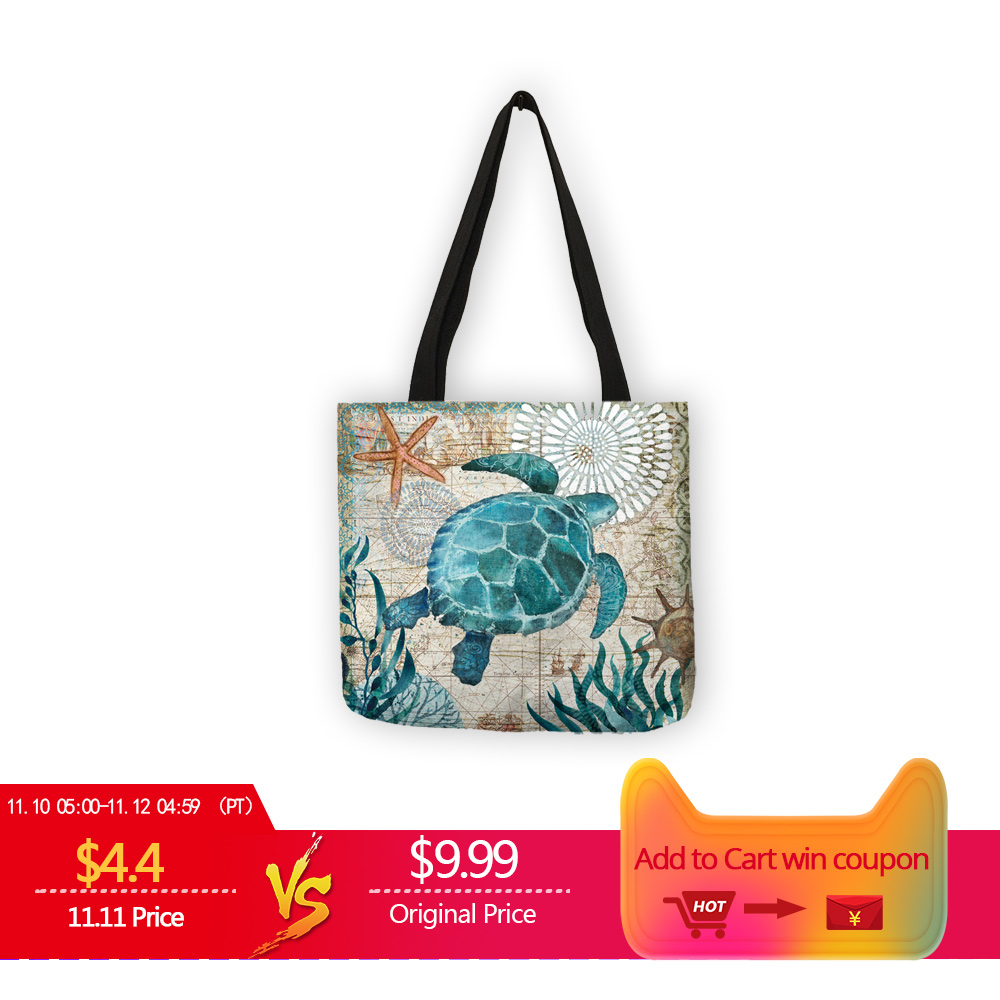 Customize Tote Bag Seahorse Turtle Octopus Pattern Traveling Shoulder Bags Eco Linen Shopping Bags For Women with Print unique customize tote bag eco linen bags with audrey hepburn print reusable shopping bags fashion handbag totes for women