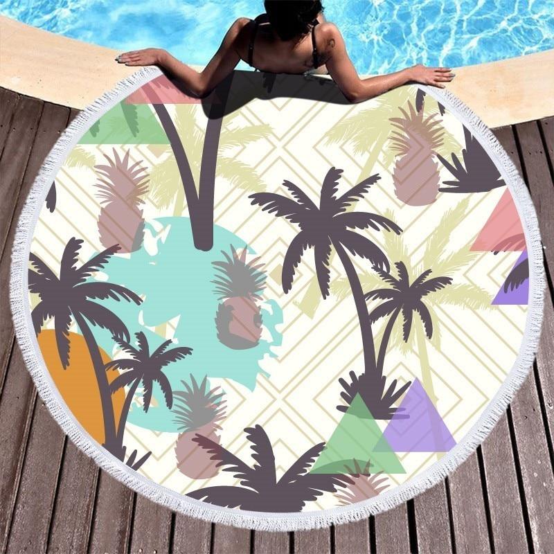 Coconut Tree Pineapple Large Round Beach Towel Tassel Microfiber 150cm Summer Sport Bath Toalla De Playa