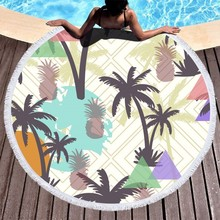 Coconut Tree Pineapple Large Round Beach Towel Tassel Microfiber 150cm Summer Sport Bath Toalla De Playa