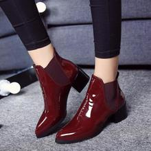 British Style Pointed Toe Ankle Boots Women Fashion Patent Leather Women Boots Black Wine Red Martin Shoes Woman Chelsea Boots