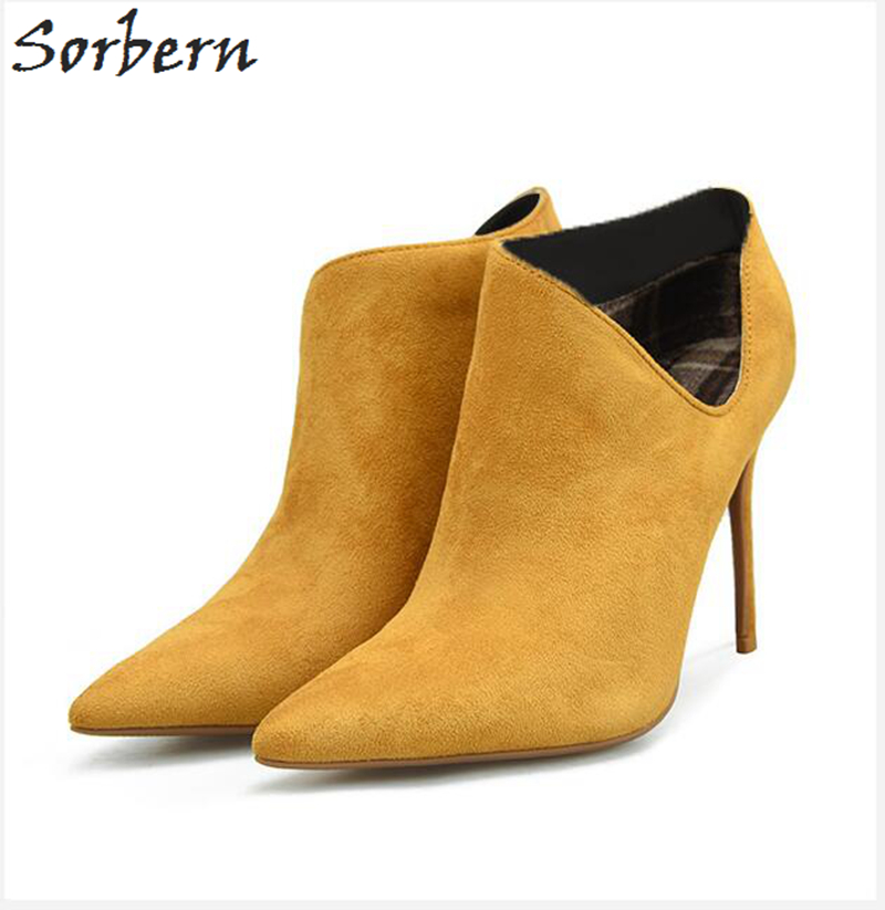 Sorbern Flock Women Boots 10CM 8CM Thin Heels Pointed Toe Ladies Party Boots Zapatos Mujer Winter Boots Plus Size Botas Mujer fashion sorbern women boots high thin metal heels pointed toe zipper ladies party boots boots women zapatos mujer hot sale