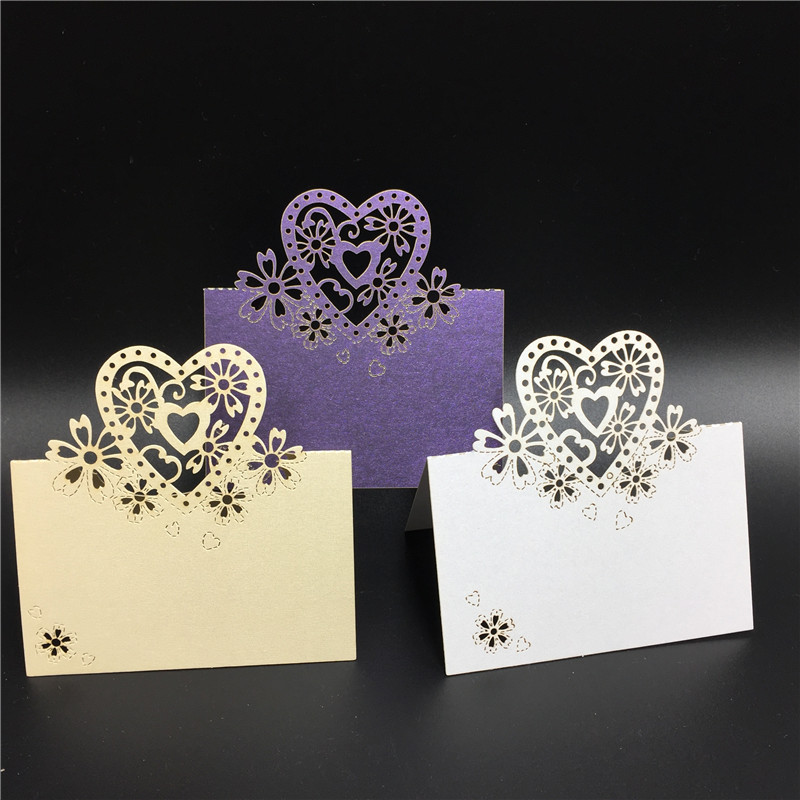 12pcs lot heart design laser cut place cards wedding name for Design table name cards