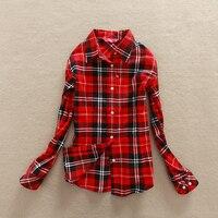Women 2014 Spring Autumn Female Casual 100 Cotton Long Sleeve Shirt Slim Plaid Shirt Outerwear Blouse