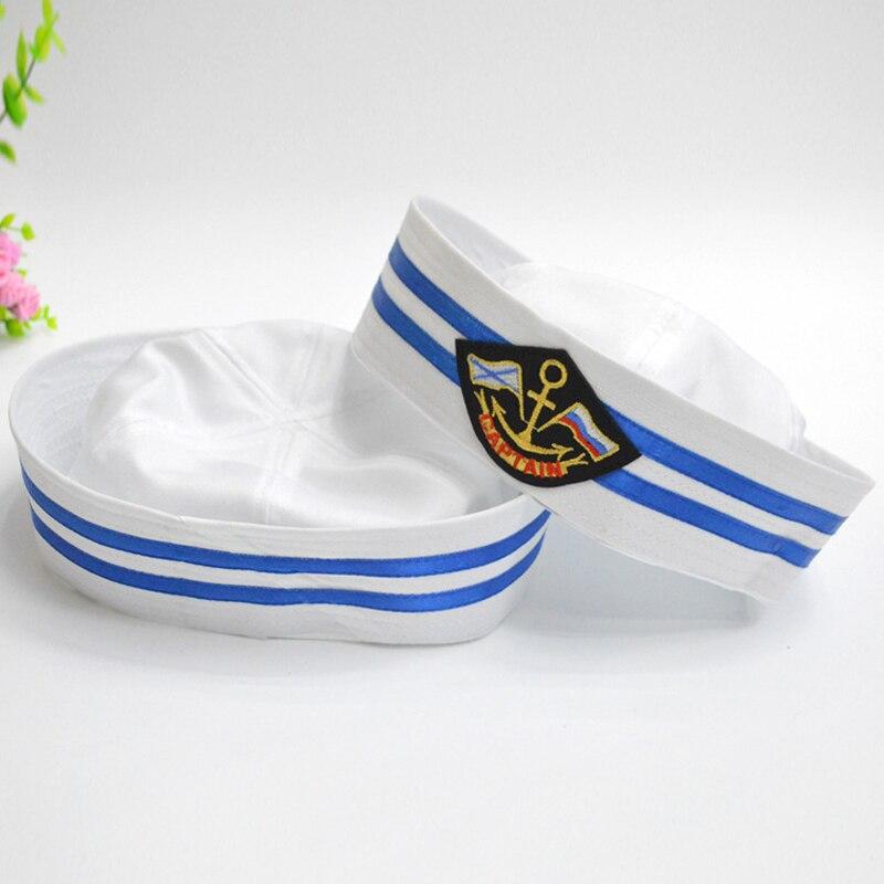 4148c2b20 US $7.3 15% OFF|Cotton Naval Caps Hats for Men Women Children Trend Stage  Performance Popeye Sailor Hat White Air Uniform Army Cap GH 243-in Men's ...