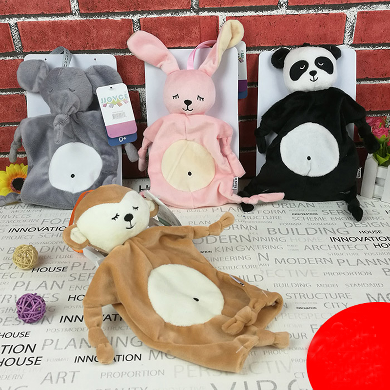 JJOVCE Plush Security Blanket Baby Shower Gift Stuffed Animal Toys Soft Rattle Baby Soothing Towel Elephant PandonMonkey Rubbit