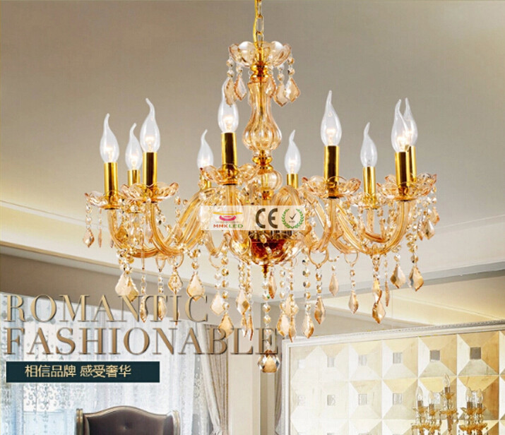 Modern Gold Transparent Crystal Candelabra Chandelier Lamp