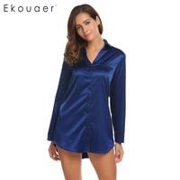 Ekouaer Casual Sleepwear Womens Long Sleeve Solid Nightgown Satin Elegant Silk Sleep Shirt Dress Soft Nightwear