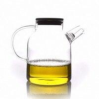 1x 1600ml Handwork Heat Resistant Glass Teapot w/ Filter & Bamboo Lid