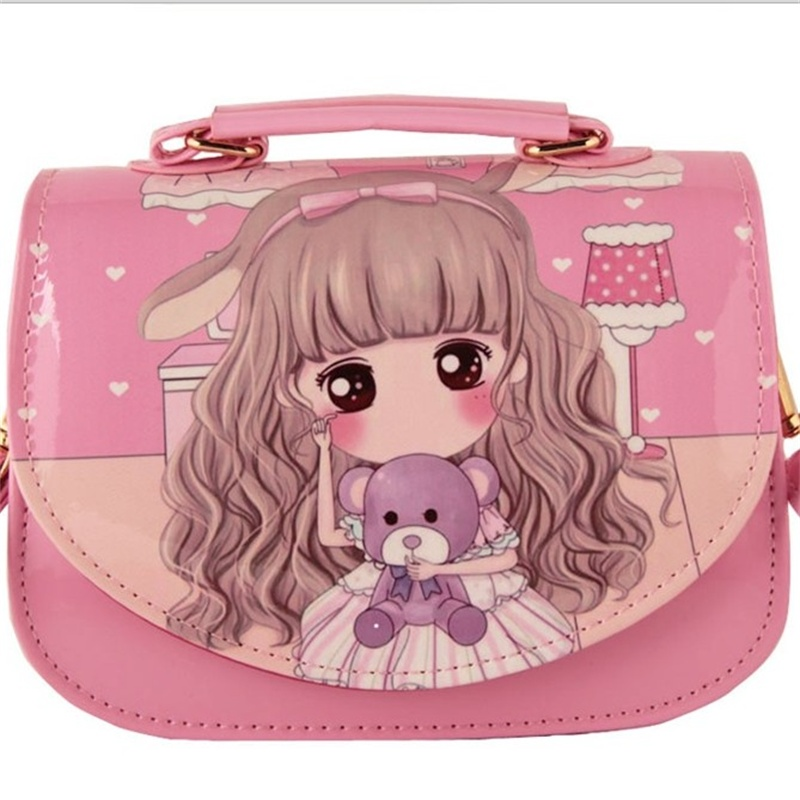 Mcneely Cartoon Lovely Girls Cute Messenger <font><b>Bag</b></font> PU Leather Hasp Shoulder <font><b>Bag</b></font> Kids Fashion Portable Ladies Mobile phone <font><b>Bags</b></font> image