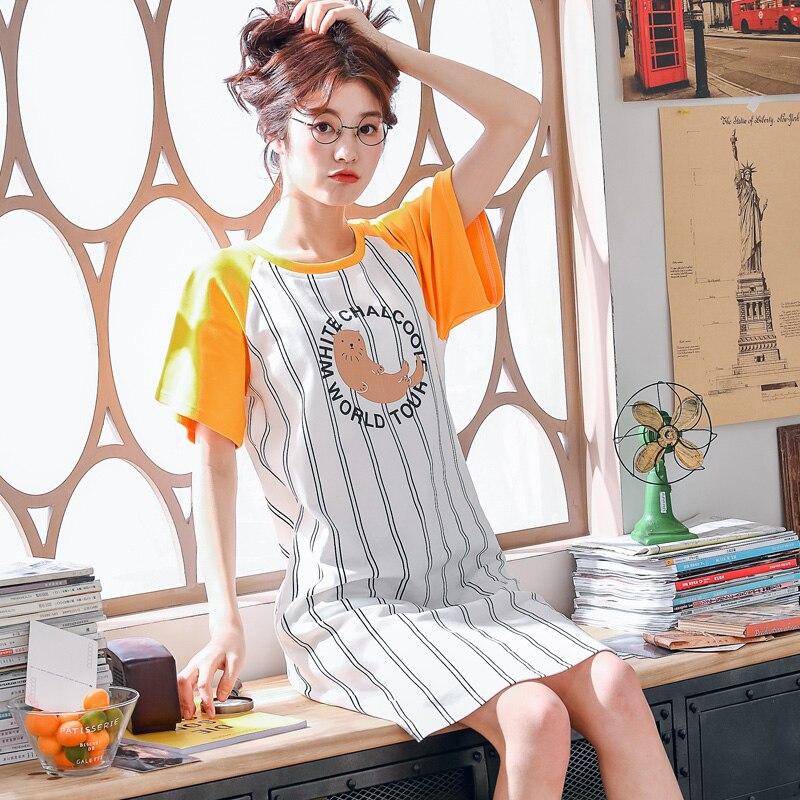 Brand New Knitted Cotton O-neck Women Short Sleeved Cartoon Striped Sleepwear Girl Nightgowns Nightdress Sleepshirts Homewear