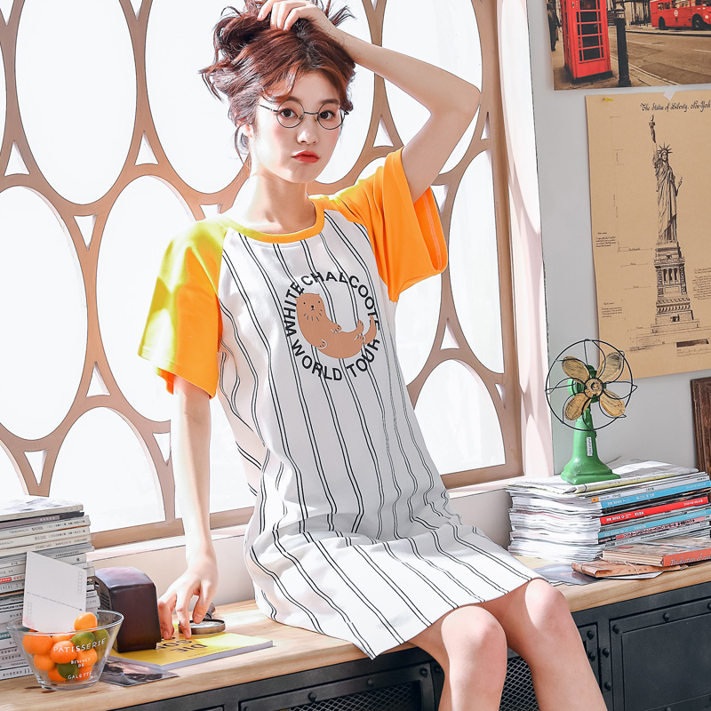 Brand New Knitted Cotton O-neck Women Short Sleeved Cartoon Striped Sleepwear Girl   Nightgowns   Nightdress   Sleepshirts   Homewear