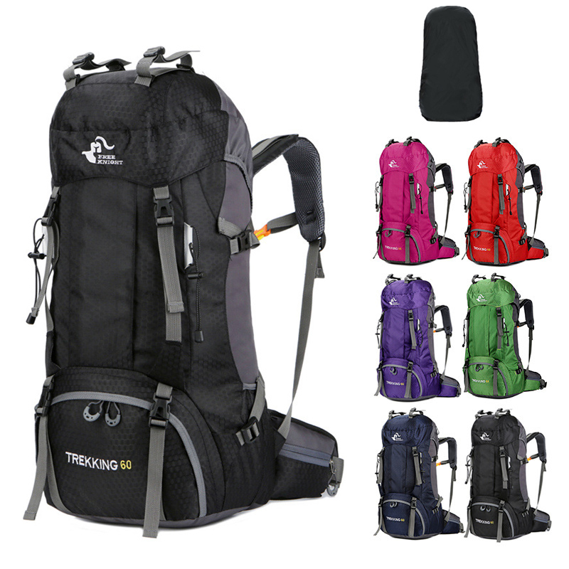 60L Hiking Backpacks Men's Sports Bags Nylon Camp Travel Pack Women Treking Waterproof Outdoor Backpacks Ultra-light Bags