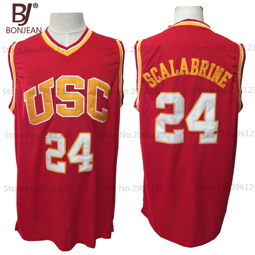 972b483e71d ... BONJEAN Mens Brian Scalabrine 24 USC Trojans College Throwback  Basketball Jersey Stitched Red Shirt( ...