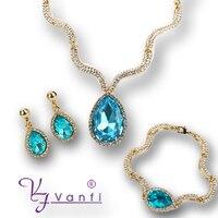 Legering goud/Wit sieraden set groothandel guangzhou mode-sieraden markt blauw namen