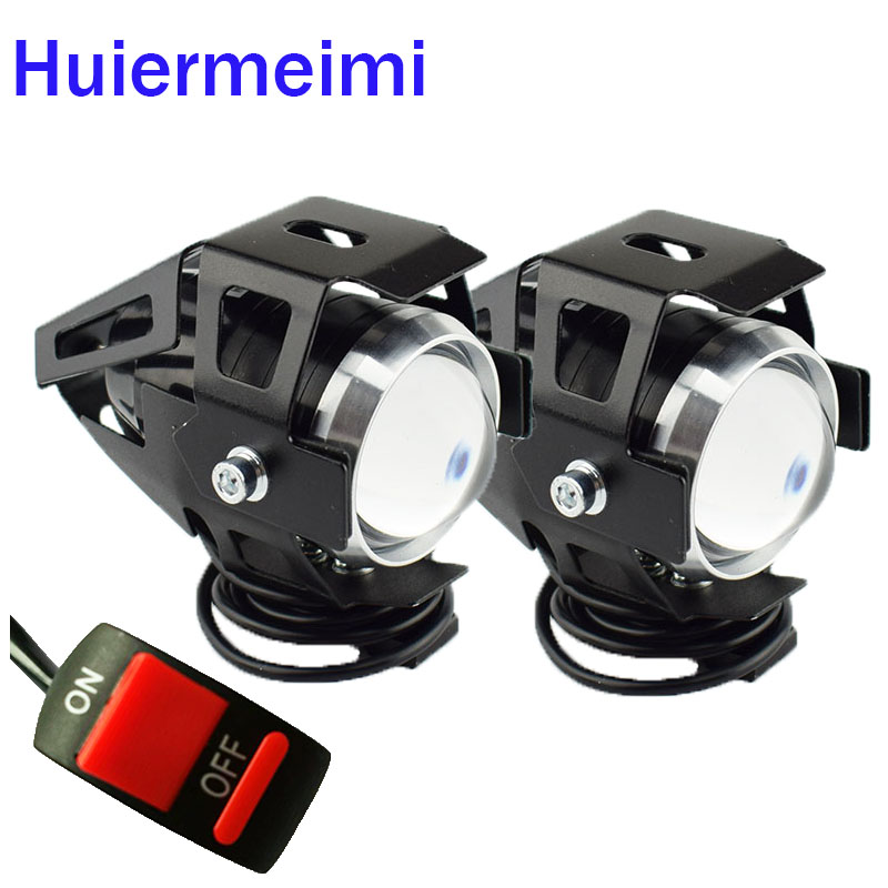 Huiermeimi 2PCS Motorcycle Headlight U5 125w LED driving DRL 4 color car fog light moto spotlight Motorbike Head light Spot lamp