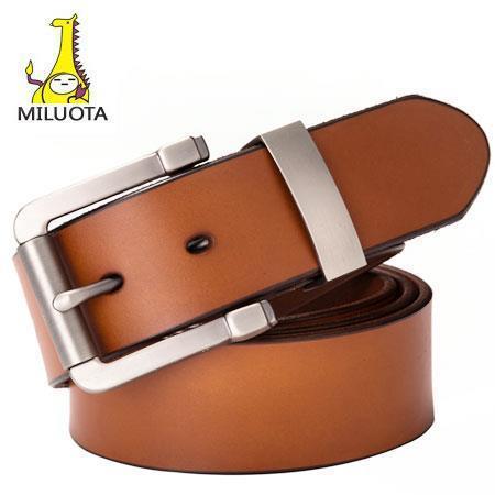 [Miluota] 2015 100% cinturones de Cuero Genuino para los hombres correa de la marca ceinture homme Metal de la manera hebilla hombres cinturón cintos de cuero LW513