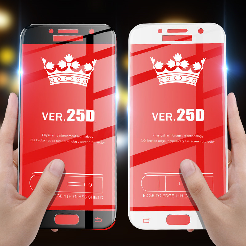 Image 2 - 25D Curved Protective Glass on the For Samsung Galaxy A3 A5 A7 J3 J5 2017 J4 J6 A8 A6 Plus 2018 Tempered Screen Protector Glass-in Phone Screen Protectors from Cellphones & Telecommunications