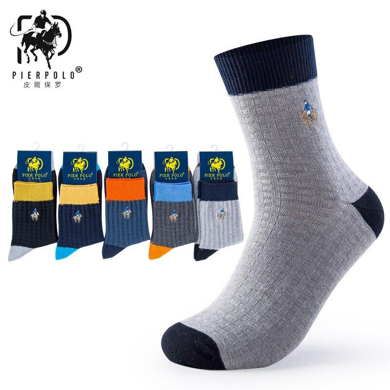 2017 Лидер продаж Для мужчин полоску носки, Повседневное Бизнес носок PIER поло Марка, красочные носки, высокая Качественный хлопок Мужские нос... ...
