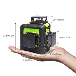 Image 2 - Huepar 12 خطوط ثلاثية الأبعاد عبر مستوى خط الليزر الأخضر شعاع الليزر الذاتي التسوية 360 الرأسي الأفقي مع جهاز استقبال ليزر LCD الرقمية