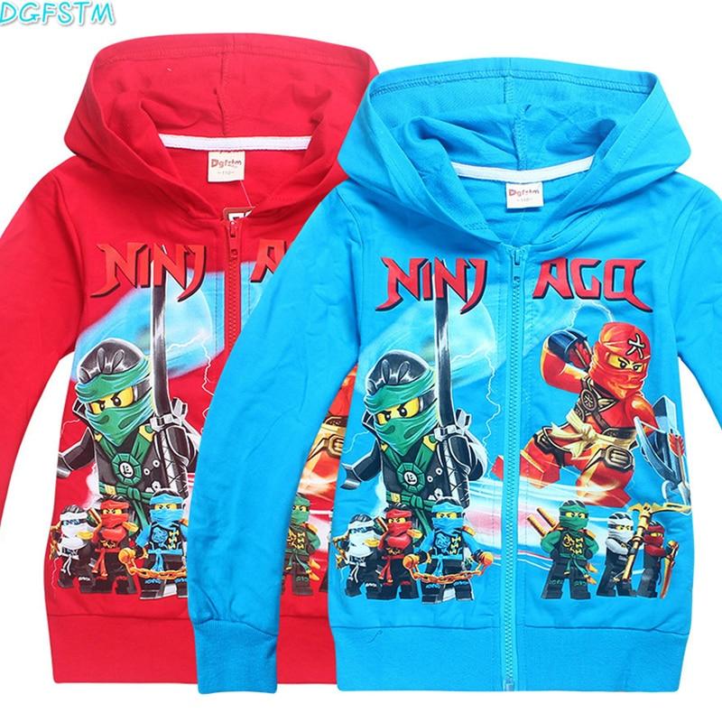 2017 New Boys Outwear Ninja Ninjago Hoodies Cartoon Ninjago Costumes Clothes T shirts Childrens Sweatshirts For Boys Kids Tops