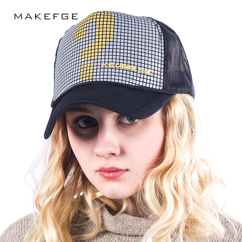 Women Spring Adjustable Baseball Cap Trucker Hat print Curved Hat Mesh Plain Color Cap Mesh Snapback Quick Dry Summer Sun Hat