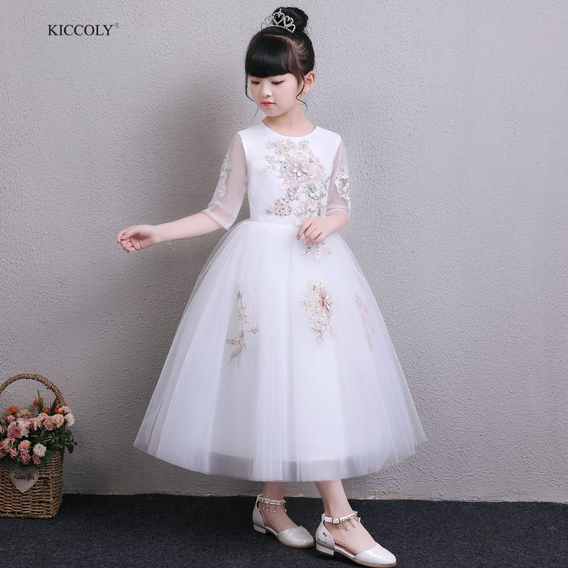 KICCOLY 2018 Summer Children Dresses For Girls Kids Embroidery Beaded Princess Dress For Girl 1-14Y Lace Birthday Party Gown 2017 3 14y summer mint green party evening dresses kids dresses for girls sleeveless mesh lace dress children vestidos mujer d25