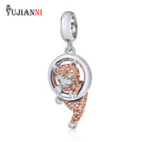 Authentic 925 Sterling Silver Charm Lucky Cat Pendant With Champagne Zircon Bead Fit European Brand Bracelets