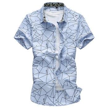 2018 New Fashion Casual Shirts Mens Summer Irregular Pattern Clothing Breathable Comfortable Short sleeves Shirts Big Size 7XL