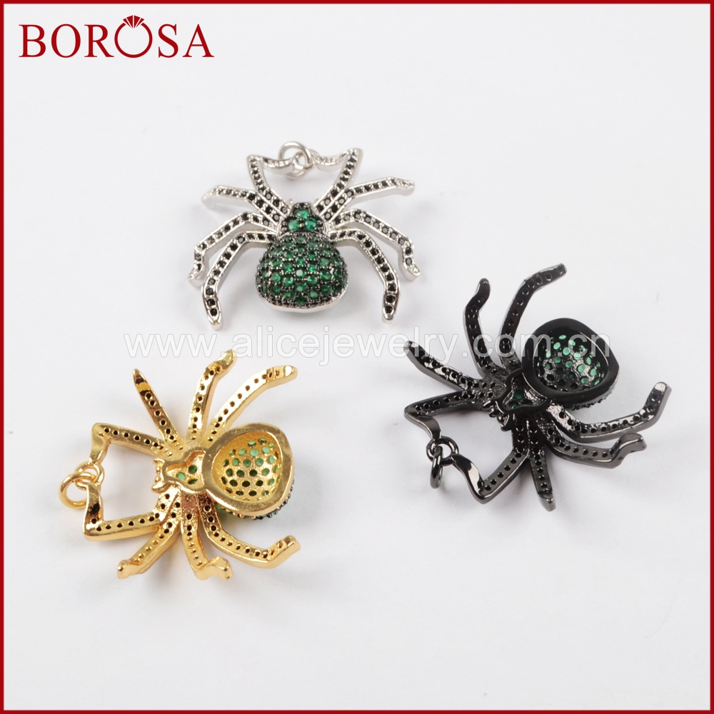 BOROSA 5pcs Spider Pendant Green Insect Pest Bugs Pendant Bead, Micro Pave Cubic Zircon CZ Pendants Fashion Jewelry WX832