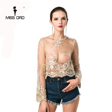 Missord 2018 Sexy O-neck  long sleeve lace embroidery  top FT4641-1